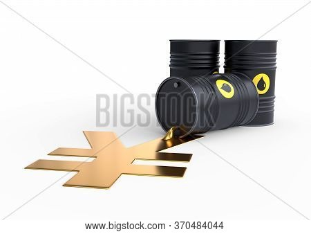 Barrel of oil spilling golden yen sign on a white background. Black barrel from which oil spills. Oil prices inflation. 3D rendering illustration