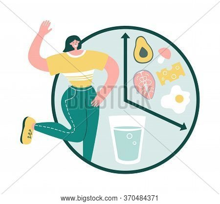 Intermittent Fasting. Happy Woman Smiles And Chooses To Fast. Clock With Glass Of Water And Healthy