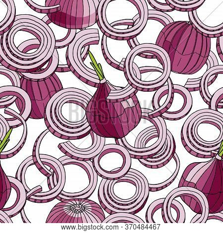 Outline Red Onion Vector Seamless Pattern. Hand Drawn Purple Colored Bulb, Rings And Slices Of Onion