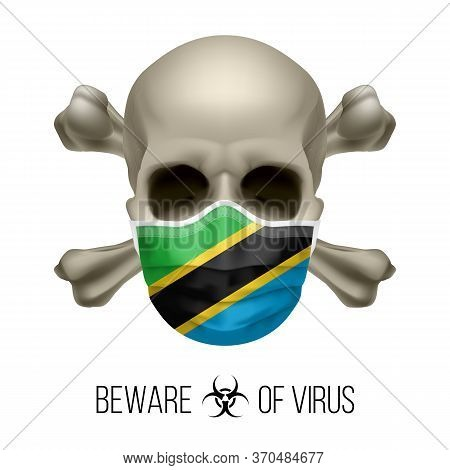 Human Skull With Crossbones And Surgical Mask In The Color Of National Flag Tanzania. Mask In Form O