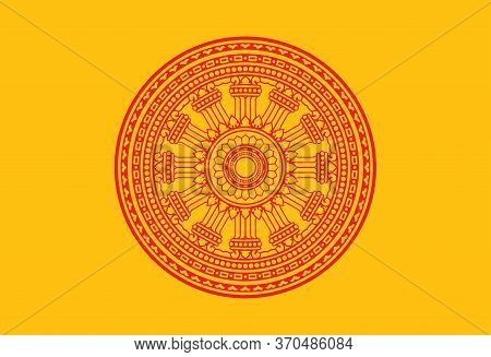 Symbol Of Buddha Teachings On The Path To Enlightenment. Dharma Wheel, Dharmachakra. Flag Of Buddha