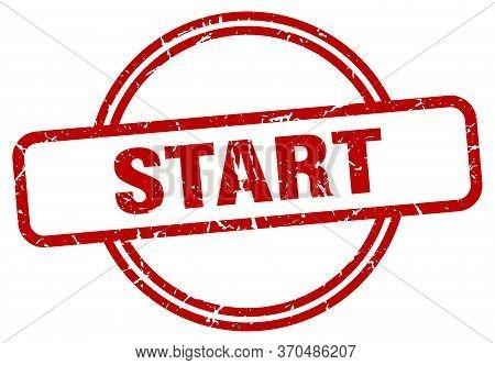 Start Stamp. Start Round Vintage Grunge Sign. Start