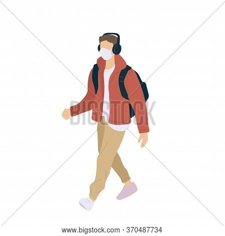 Walking Man In Surgical Mask With Headphones And Backpack Of Season Casual Clothes Winter, Spring An