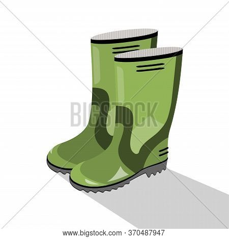 Green Waterproof Rubber Boots Isolated On White Background. Gumboots For Rainy Weather. Vector Illus