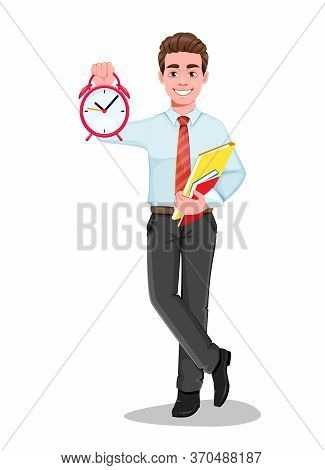 Successful Business Man With Alarm Clock. Handsome Businessman In Business Clothes. Cheerful Cartoon