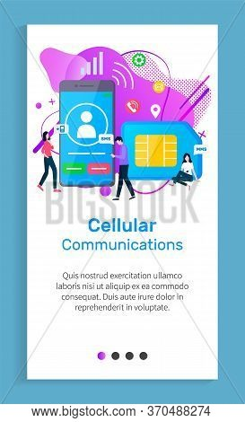Cellular Communication Vector, People Using Phones With Sim Card To Call Each Other And Send Message