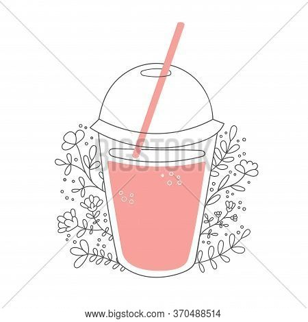 Fruity Smoothie With Decorative Flowers. Take Away Cup With A Straw And Tasty Drink. Beautiful Glass