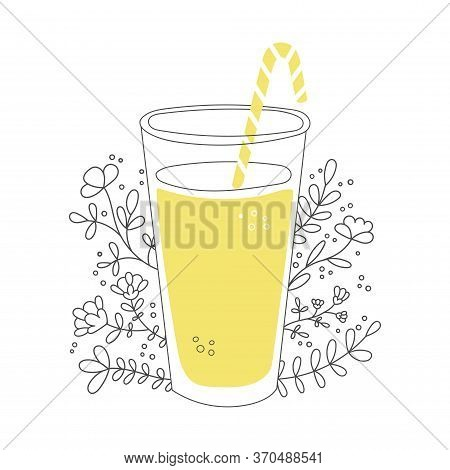 Fruity Smoothie With Plants And Flowers. Tall Glass With A Straw And Tasty Drink. Cup Of Tasty Summe