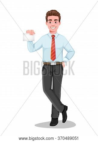 Successful Business Man Holding Blank Card. Handsome Businessman In Business Clothes. Cheerful Carto
