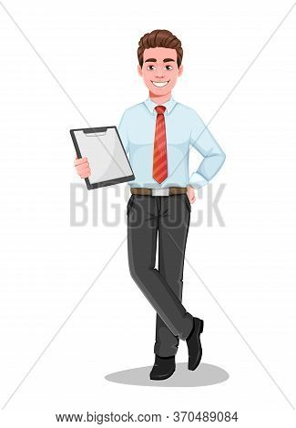 Successful Business Man Holds Blank Clipboard. Handsome Businessman In Business Clothes. Cheerful Ca
