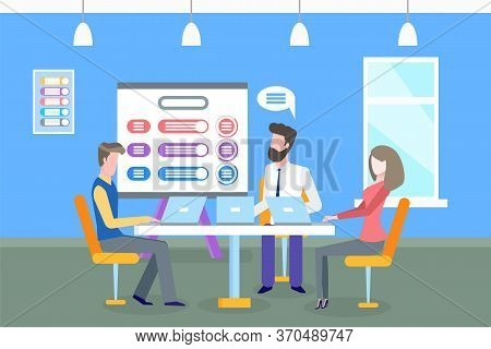 Scheme On Whiteboard, Business Meeting Conference Vector. Man And Woman Discussing Ideas Of Project,