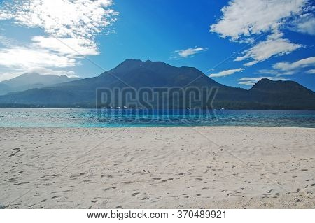 Mount Hibok Hibok With Sea Beach And Sands At White Island In Camiguin, Philippines