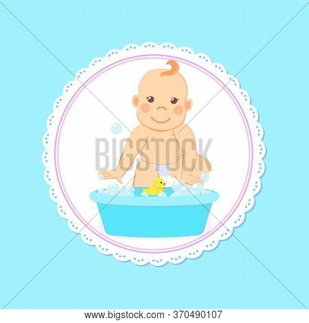 Baby Shower Greeting Card, Infant Bathing In Basin With Water, New Born Child. Toddler Milestones Fr