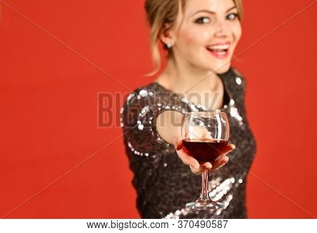 Lady Holding Cabernet Or Merlot With Smiling Face