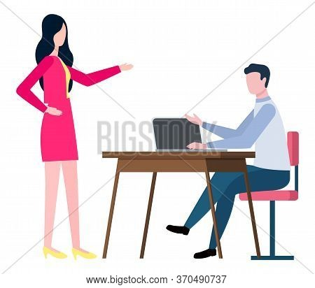Brokers Collaboration Isolated Cartoon People. Training At Work Controlling Supervisor. Vector Male