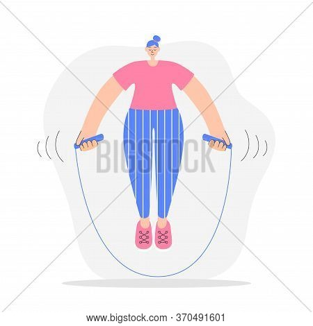 Woman Exercising With A Jumping Rope. Modern Flat Illustration On Fitness. Young Woman Doing Cardio