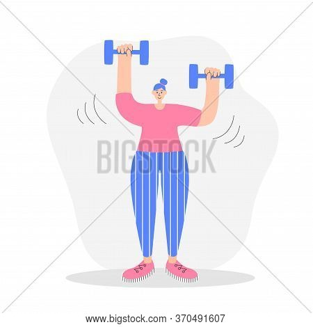 Woman Exercising With Dumbbells. Modern Flat Illustration On Fitness. Young Woman Doing Shoulder Pre