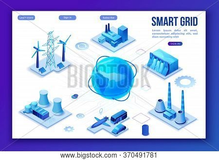 Smart Grid 3d Isometric Infographics, Blue Neon Concept With Solar Panels And Electricity Pole, Nucl