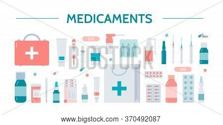 Medicaments Icons. Pharmacy, Medicine And Healthcare Concept. Healthcare Symbols Isolated On A White