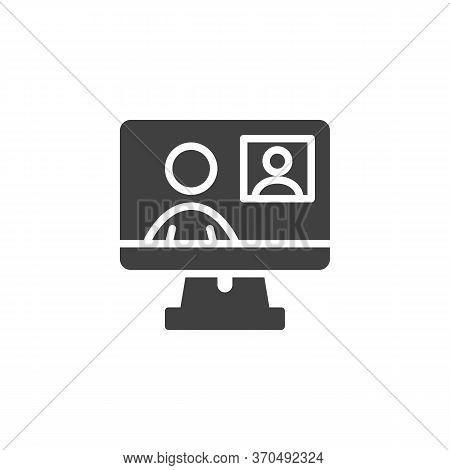 Online Conference Meeting Vector Icon. Video Chat Filled Flat Sign For Mobile Concept And Web Design