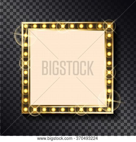 Vector Right-angled Sparkling Border, Empty Banner With Place For Text. Square Glittering Frame With