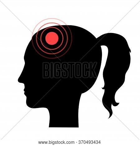 Flat Vector Isolated Illustration Of Pain, Inflammation Or Tumor In Human Adult Anatomy In Female Si