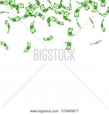 American Dollar Notes Falling. Sparse Usd Bills On White Background. Usa Money. Creative Vector Illu