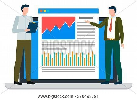 Two People Standing On Laptop Near Statistics Chart And Looking On It. Business Infographics On Webs