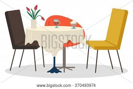 Chairs Near Single Leg Table For Meal And Drinks. Place For Date In Cafeteria, Interior Of Cafe. Des