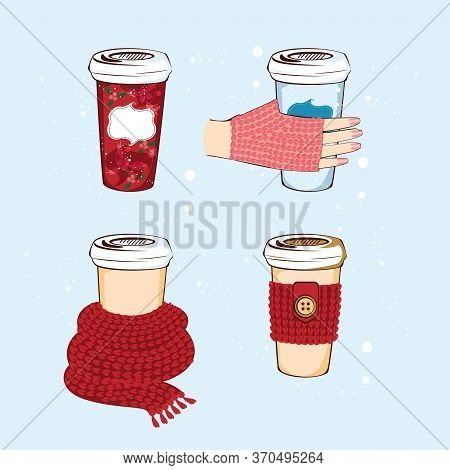 Cute Winter Coffee Cup Set For Your Design