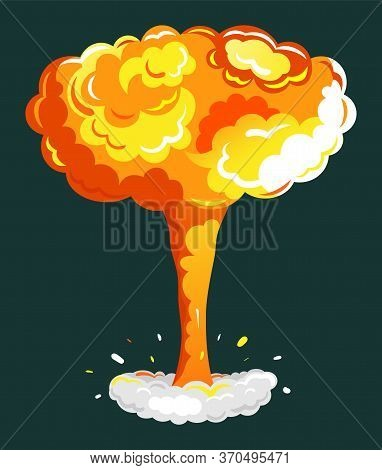 Explosion Cartoon Bomb In Yellow Color. Creative Idea With Danger Motion Smog On Dark Background Ico