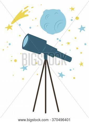 Telescope And Falling Star, Planet Cosmic Bodies Isolated. Vector Comet At Galaxy Space, Blue Moon O