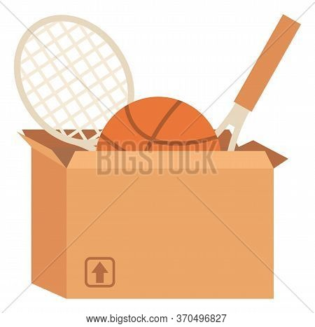 Sport Equipment In Box, Garage Sale Or Declutter Vector. Tennis Or Badminton Rackets And Basketball,