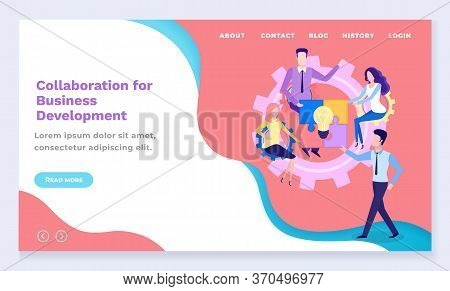 Business Development Collaboration Or Co-working Web Landing Page Vector. Startup Planning, Success