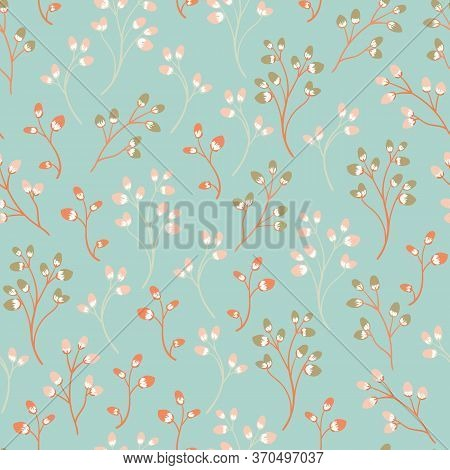Seamless Pattern With Sprigs Of Willow On A Light Background. Springtime Background With Plants With