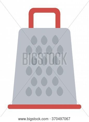 Grater Device, Surface Covered By Holes With Cutting Edges Isolated On White. Vector Tool For Gratin