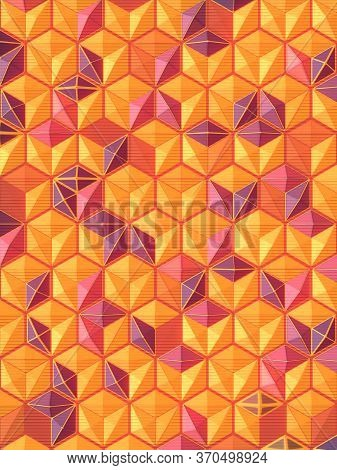 3d Rendering Multi Colored Hexagonal Shape. Modern Graphic Template. Digital Technology Background.