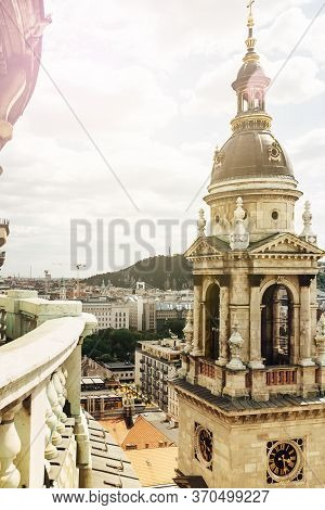 Basilica Of Saint Stephen, Dome Of One Of The Small Towers Over Cityscape Of Budapest, Hungary, View