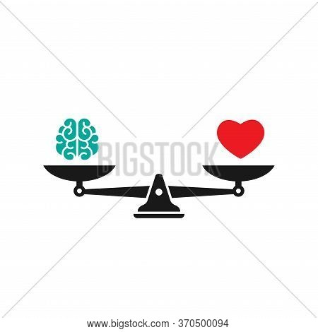 Black Mechanical Scales With Brain And Red Heart In Pans. Love, Like, Sympathy Value, Solution And R
