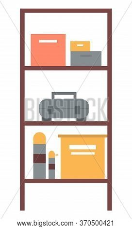 Shelf With Colorful Boxes And Cases, Wooden Construction With Geometric Volumes, Toolbox Or Locker O