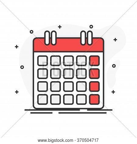 Flat Design. Calendar On White Background. Vector Illustration.