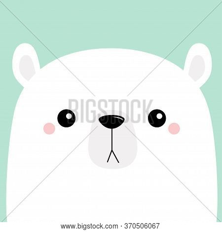 Polar White Bear Cub Sad Face. Merry Christmas. Happy New Year. Cute Cartoon Baby Character. Arctic