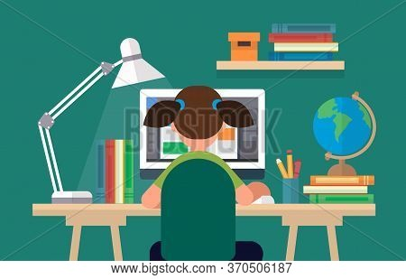 Student Sitting At The Desk, Learning With Computer. Concept Illustration In Flat Style, Online Lear