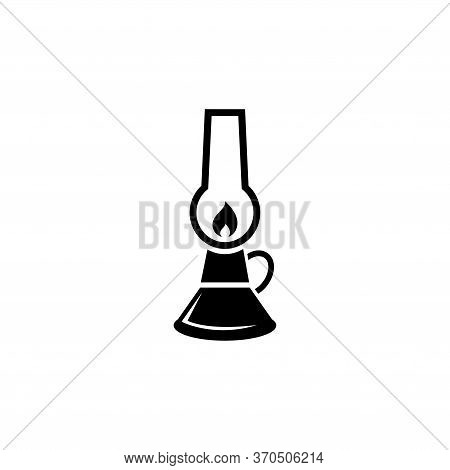 Oil Lamp, Camping Kerosene Gas Lantern. Flat Vector Icon Illustration. Simple Black Symbol On White