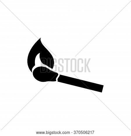 Burning Match Stick, Ablaze Matchstick. Flat Vector Icon Illustration. Simple Black Symbol On White