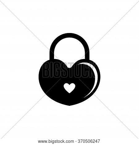 Amour Heart Lock, Love Wedding Padlock. Flat Vector Icon Illustration. Simple Black Symbol On White