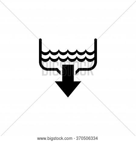 Water Drain, Bathroom Sink, Plumbing. Flat Vector Icon Illustration. Simple Black Symbol On White Ba