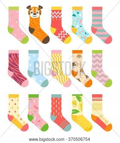 Socks Vector Illustration Set. Cartoon Flat Collection Of Colorful Clothing Items With Different Pat