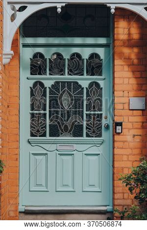 London, Uk - May 26, 2020: Close Up Of A Stained Glass Front Door Of An Edwardian House In London, S