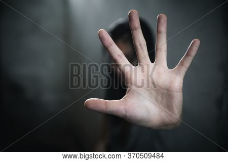 Woman Hand Sign For Stop Abusing Violence,  Human Trafficking, Stop Violence Against Women, Human Is